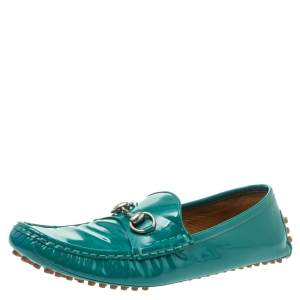 Gucci Green Patent Leather Horsebit Loafers Size 39.5