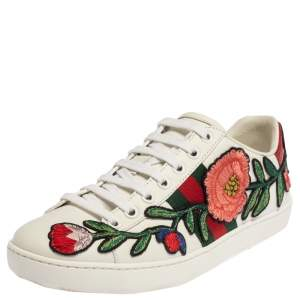 Gucci White Leather Ace Floral-Embroidered Web Low Top Sneakers Size 36