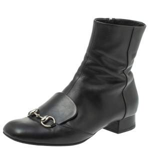 Gucci Black Leather Horsebit Ankle Boots Size 38.5