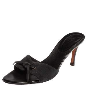 Gucci Black/Blue Guccissima Canvas Knotted Bow Mules Size 36.5