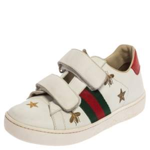 Gucci White Leather Ace Bees and Stars Embroidered Velcro Strap Sneaker Size 35