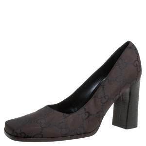 Gucci Brown/Black Canvas Guccissima Monogram Square Toe Pumps Size 37