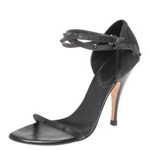 Gucci Black Leather And GG Canvas Studded Ankle Strap Sandals Size 36