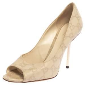 Gucci White Guccissima Leather Peep Toe Pumps Size 37.5