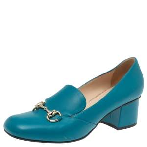 Gucci Blue Leather Horsebit Block Heel Loafer Pumps Size 38
