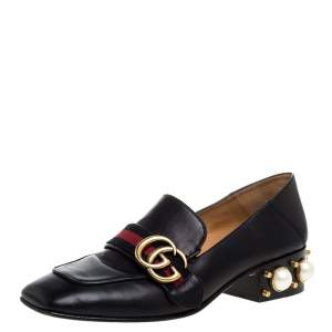 Gucci Black Leather Peyton Loafer Pumps Size 36