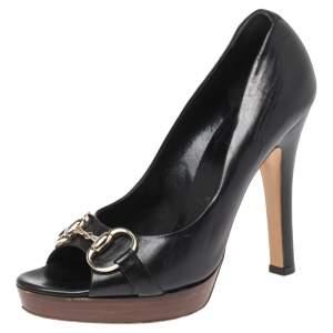 Gucci Black Leather Jolene Horsebit Peep Toe Pumps Size 37
