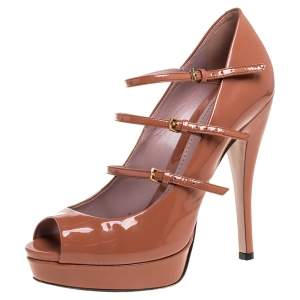 Gucci Brown Patent Leather Mary Jane Peep Toe Platform Pumps Size 37.5