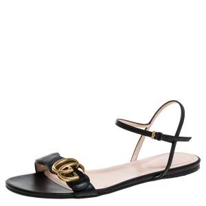 Gucci Black Leather Marmont Sandals Size 36.5