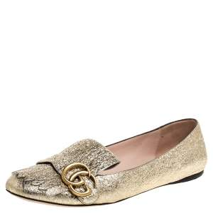 Gucci Metallic Gold Crinkled Leather GG Marmont Fringe Detail Flats Size 38.5