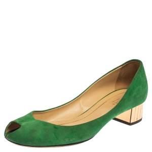 Gucci Green Suede Peep Toe Block Heel Pumps Size 38.5