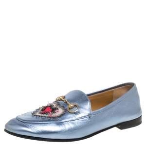 Gucci Metallic Blue Leather Jordaan Horsebit Slip On Loafers Size 40
