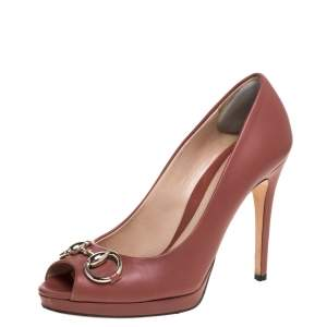 Gucci Brick Red Leather Hollywood Horsebit Platform Pumps Size 36