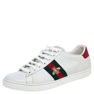 Gucci White Leather Ace Bee Web Low Top Sneakers Size 39