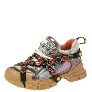 Gucci Multicolor Leather and Mesh Flashtrek Removable Crystals Sneakers Size 40