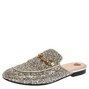 Gucci Silver Glitter Leather Princetown Flat Mule Size 37.5