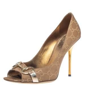 Gucci Brown GG Canvas Horsebit Peep Toe Pumps Size 39.5