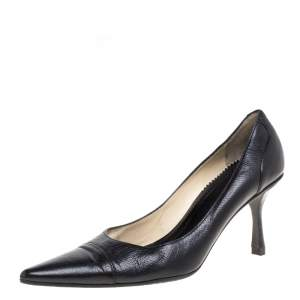 Gucci Black Leather Pointed Toe Pumps Size 38.5C