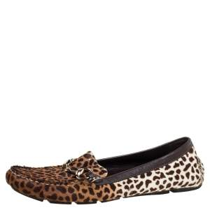 Gucci Brown/White Leopard Print Pony Hair Horsebit Detail Slip On Loafers Size 38