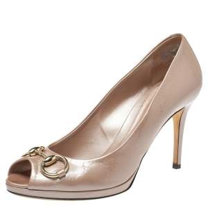 Gucci Pink Nice Guccissima Patent Leather New Hollywood Horsebit Peep Toe Pumps Size 39
