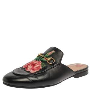 Gucci Black Leather Rose Embroidered Princetown Horsebit Flat Mules Size 40
