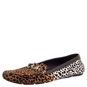 Gucci Brown/White Leopard Print Calfhair Horsebit Detail Slip On Loafers Size 41
