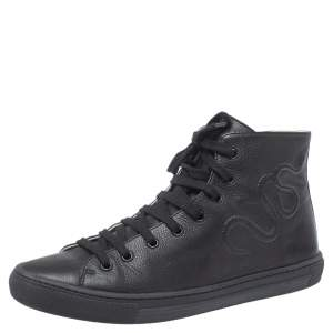 Gucci Black Leather High Top Sneakers Size 38
