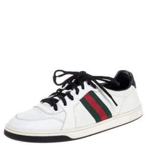 حذاء رياضي غوتشي منخفض أعلى تفاصيل ويب أيس جلد أبيض مقاس 39