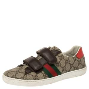 Gucci Beige/Brown GG Supreme Canvas and Leather Ace Velcro Sneakes Size 38