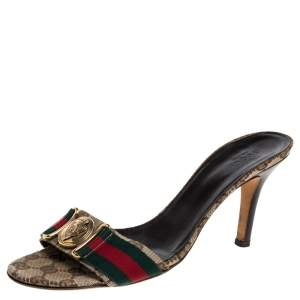 Gucci Beige GG Canvas Hysteria Slide Sandals Size 38.5