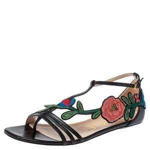 Gucci Black Leather Ophelia Floral-Embroidered Flat Sandals Size 38