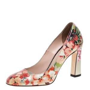 Gucci Multicolor Floral Printed Leather Blooms Pumps Size 37