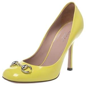 Gucci Neon Yellow Patent Leather Jolene Horsebit Pumps Size 35
