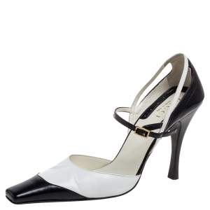 Gucci Black/White Leather Ankle Strap Square Toe Sandals Size 38.5