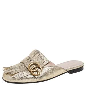 Gucci Metallic Gold Crackled Leather Marmont Fringed Flat Mules Size 37