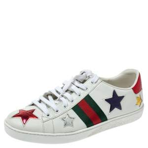 Gucci White Leather Ace Metallic Stars Low Top Sneakers Size 38