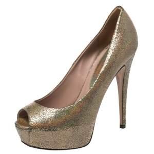 Gucci Metallic Nizza Laser Leather Peep Toe Platform Pumps Size 37