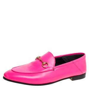 Gucci Neon Pink Leather Horsebit Loafers Size 40