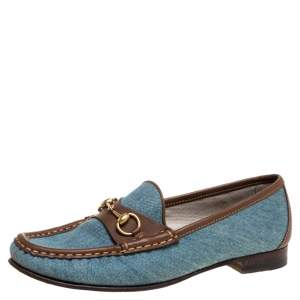 Gucci Blue/Brown Denim Fabric And Leather Horsebit Loafers Size 37.5