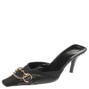Gucci Dark Blue/Black Leather And Guccissima Canvas Horsebit Mule Slide Sandals Size 37