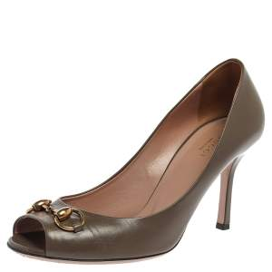 Gucci Taupe Brown Leather Horsebit Peep Toe Pumps Size 39.5