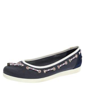 Gucci Blue/White Canvas And Suede Tassel Ballet Flats Size 38
