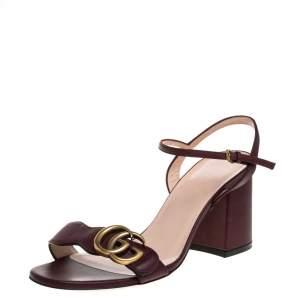 Gucci Burgundy Leather Marmont Block Heel Ankle Strap Sandals Size 36
