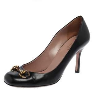 Gucci Black Leather Horsebit Square Toe Pumps Size 37.5