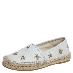 Gucci White Leather Pilar Bee Espadrilles Flats Size 35