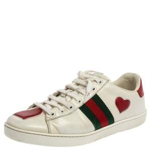 Gucci White Leather Ace Heart Embroidered Sneakers Size 38