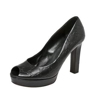 Gucci Black Guccissima Leather Peep Toe Platform Pumps Size 38