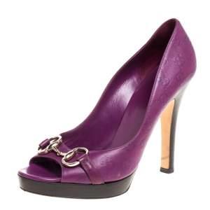 Gucci Purple Guccissima Leather Horsebit Platform Pumps Size 40