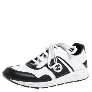 Gucci Black/White Leather Miro Sneakers Size 40.5