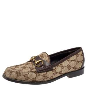 Gucci Brown GG Canvas and Leather Trim Horsebit Loafers Size 37